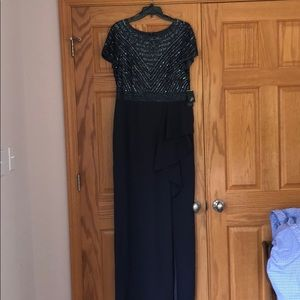 Adrianna Pappel beaded crepe long dress